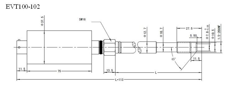 EVT100-102/102A 标准型高温熔体压力传感器/变送器,是我公司针对国内市场而研制开发的一款直杆熔体压力传感器/变送器,其中102A 加装了测温热电偶,可实现压力温度同点测量.该型号可与我公司的EVT-ST及国内外同类显示控制仪相配套使用。其优势在于可直接输出模拟信号直接到PLC,单片机,变频器等控制系统,内部80%校准信号,安装简单,性价比高。广泛应用于化纤,塑料挤出行业等高温压力测量。