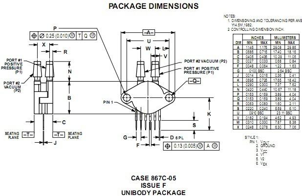 产品名称:freescale压力传感器mpx5050dp